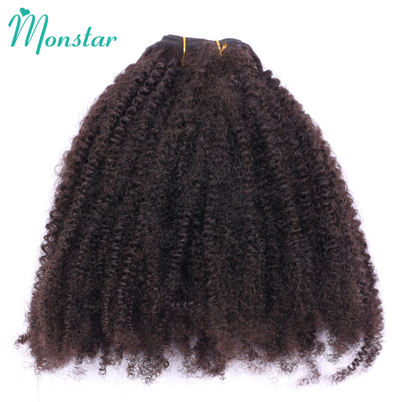 Monstar 1/3/4 Bundle Afro Kinky Curly Coily Hair 100g/pc Natural Color 10 - 26 inch Peruvian Weave Virgin Human Hair Bundle Deal ...