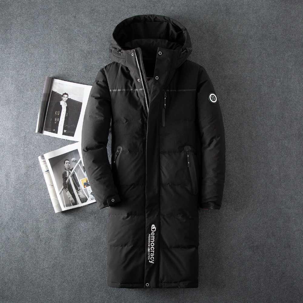 Зимняя куртка Для мужчин X-длинный пуховик мужской Толстая парка Slim корейской Черная куртка Для мужчин s Костюмы пальто Casaco Masculino