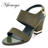 5 Color New Fashion summer women shoes Big size 28 52 thick heel high heels Sweet style Peep Toe Buckle Strap sandals HQW Y 03