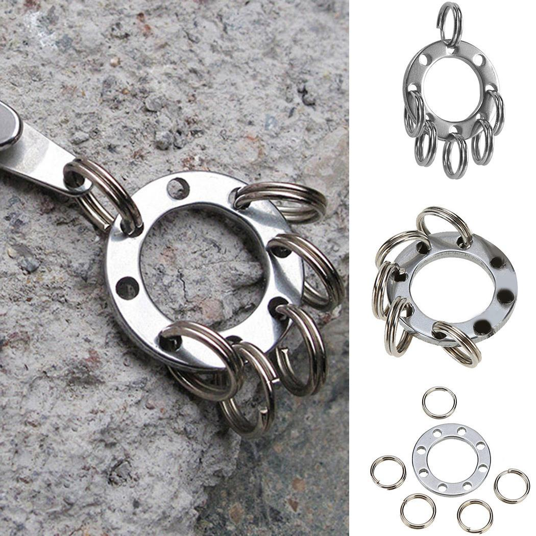 EDC Outdoor Steel Rope Burglar Keychain Multi-Tool Tactical Retractable Key Chain Camping Key Ring Outdoor Camping Travel Kits