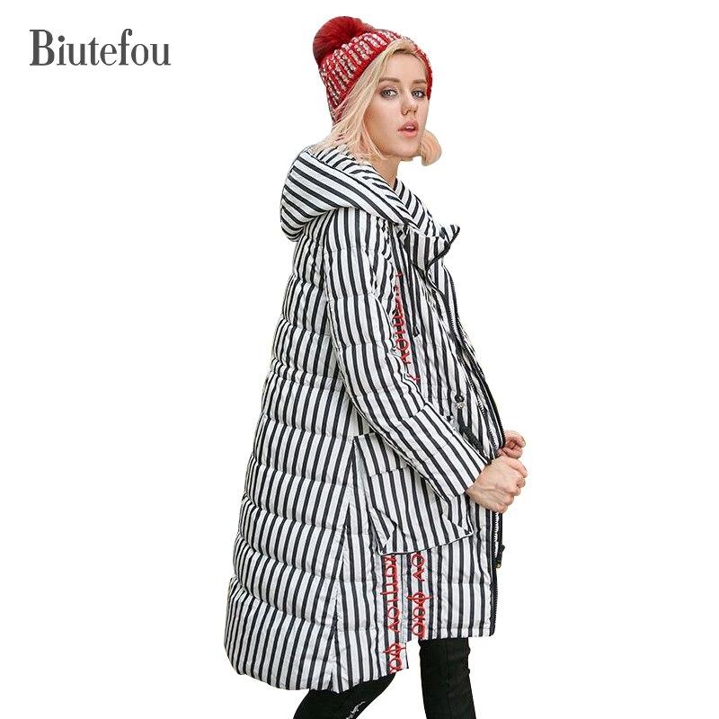 2018 Hiver manches amovible épais vers le bas manteaux femmes de mode rayé broderie réglable taille à capuchon vers le bas manteaux