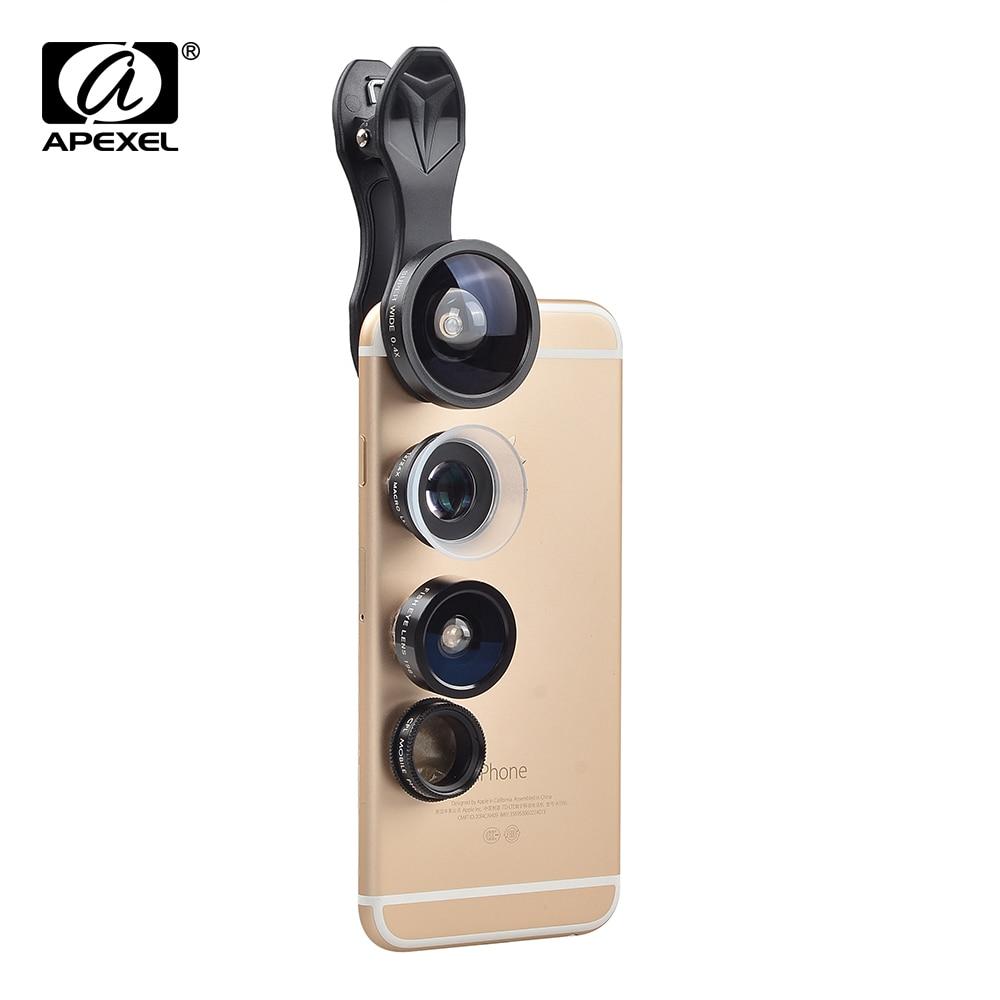 imágenes para Apexel kits Lente de la Cámara Del Teléfono Móvil de la Alta Calidad 5 en 1 198 Ojo de Pez gran Angular 0.4x 12x/24x Macro Lente CPL Con Universal Clip