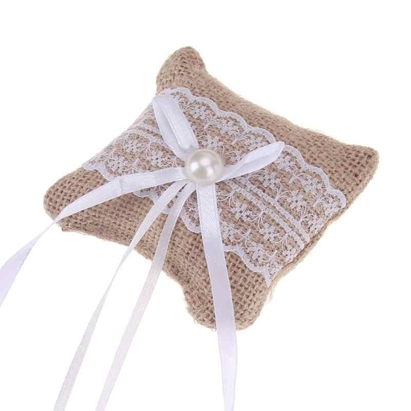 Lace Bow Ring Pillow Wedding Vintage Burlap Jute Cushion Valentine's Day Gift Party Wedding Decorations Supplies