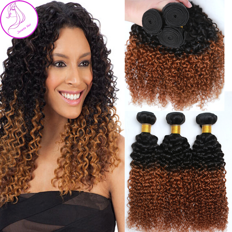 6a Ombre Hair Extensions Brazilian Virgin Hair Kinky Curly Weaves