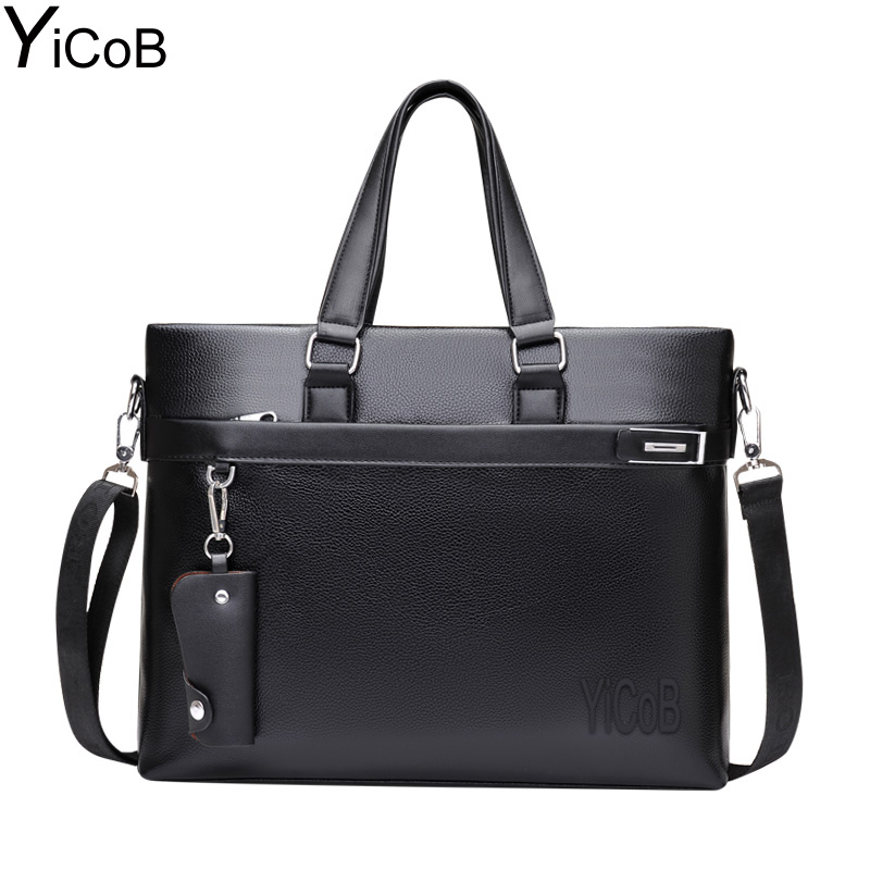 YiCoB Brand Bag Men Business Briefcase PU Leather Messenger Shoulder Bag for Laptop Boy Man Crossbody Bags Male 2017 HOT Handbag men pu leather messenger crossbody bag briefcase shoulder bag pure color simple business hand bag free shipping