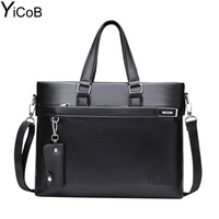 YiCoB Brand Bag Men Business Briefcase PU Leather Messenger Shoulder Bag For Laptop Boy Man Crossbody
