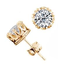 SHUANGR Golden Purple Crown CZ Zircon Stud Earrings For Women Cubic Zirconia Jewelry lady pendientes brincos femme