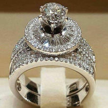 2 шт/компл роскошные круглые свадебные кольца с кубическим цирконием