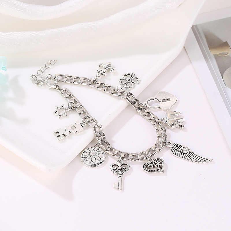 Skute בציר בוהמיה כסף צבע ההקסגרמה לב מלאך כנף פיל תליון צמידי נשים תכשיטים שרשרת Pulseira