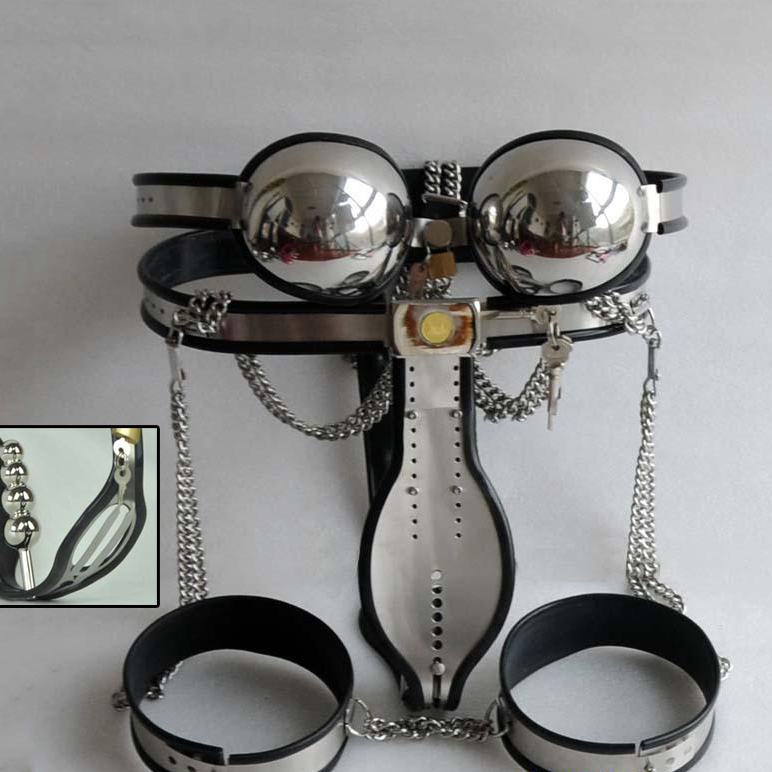 4 pcs/set stainless steel male chastity belt device,chastity pants+bra+anal plug+thigh ring cock cage bdsm bondage kit for men male chastity device male chastity belt metal cock ring free shipping stainless steel anal jewelry