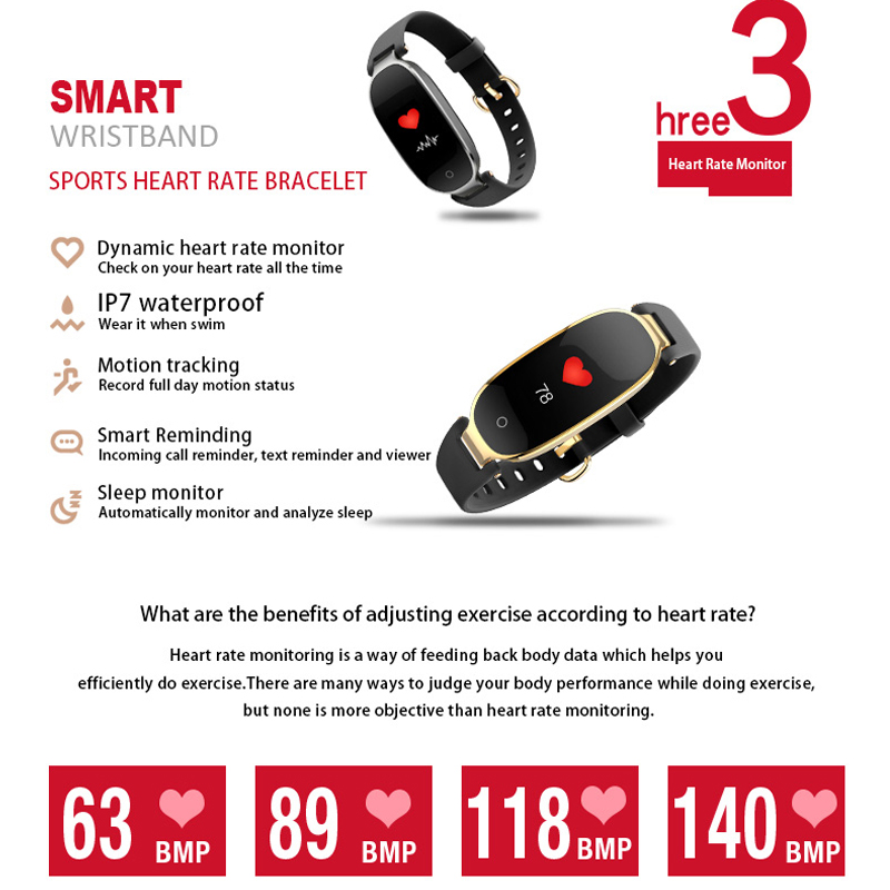 Image 4 - S3 Plus Smart Watch Color Screen Waterproof Women smart band Heart Rate Monitor Smartwatch relogio inteligente For Android IOS-in Smart Watches from Consumer Electronics
