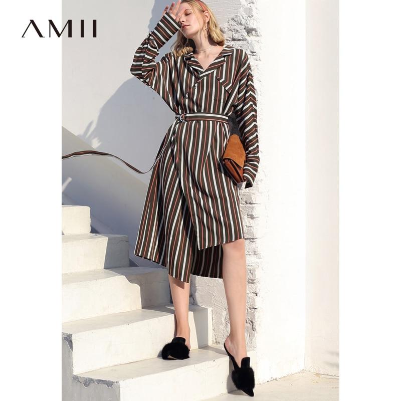 Amii Women Minimalist 2018 Autumn Dress Chic Office Lady Stripe Original Design Long Back Short Front