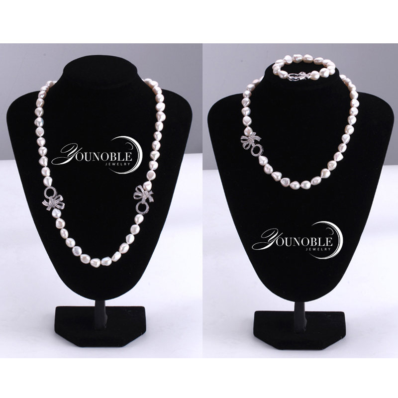 YouNoble Baroque 925 Perak 100% Putih Mutiara Air Tawar Alami Set - Perhiasan bagus - Foto 5