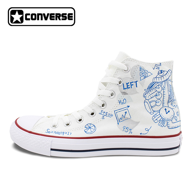 Original Design Hand Painted Canvas Shoes Brain Affective Rational Thinking Mathematical Formula Men Converse Women Sneakers