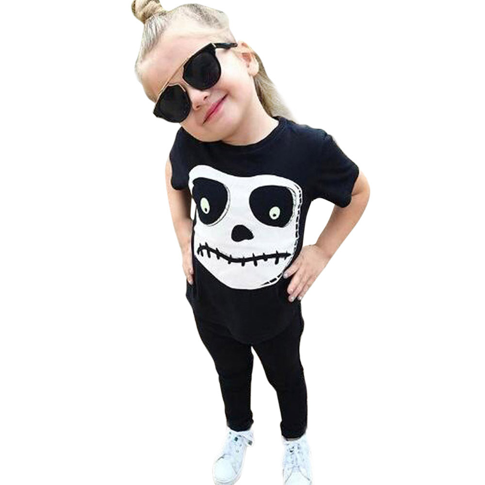 Halloween Baby Cotton Clothing Set  Toddler Baby Boys Girls Skull Print Tops Pants Halloween Costume Outfits Set