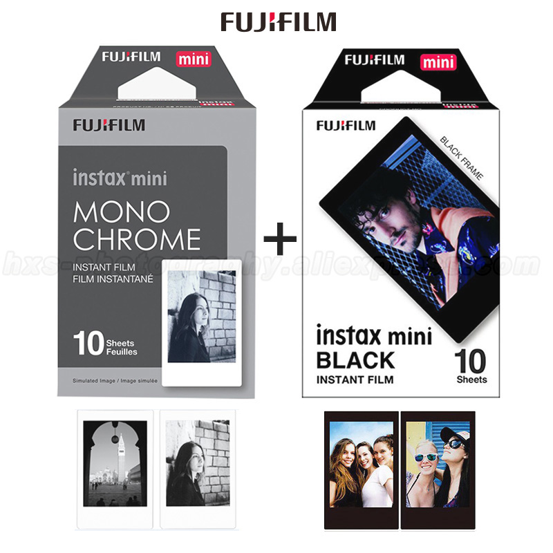 Fujifilm Instax Mini Film Monochrome and Black 20 Sheets for Instax Mini 9 8 90 7S 25 50s, SHARE Smartphone Printer SP-2 SP-1