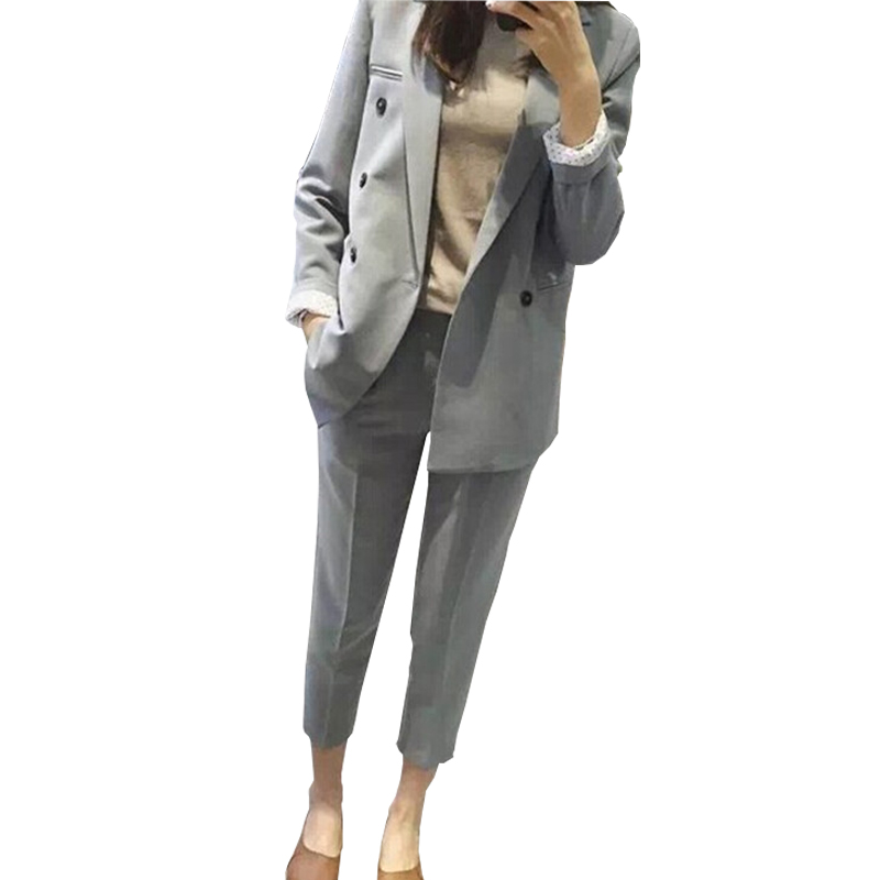 Suit Female 2019 Spring New Popular Women's Casual Long-Sleeved Solid Color Small Suit Jacket Temperament Nine Pants Two Sets