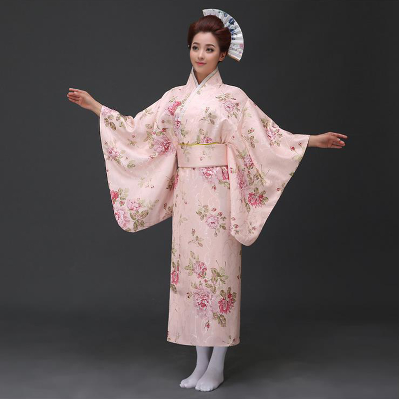Japanese Woman Vintage Kimono With Obi Original Yukata Traditional Classic Evening Dress Cosplay Costume Flower One Size B-007