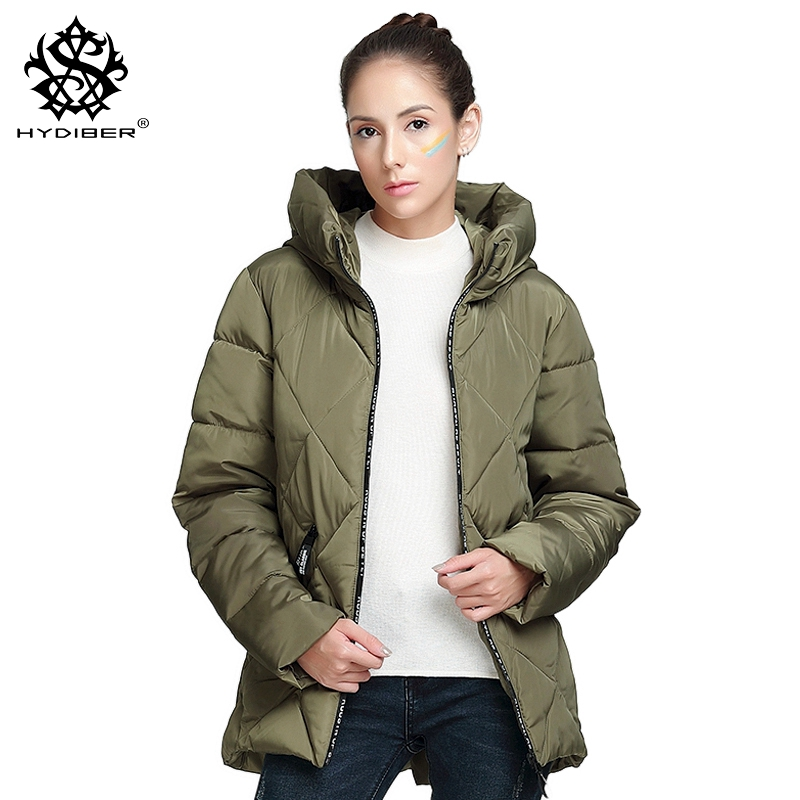 hydiber 2017 New Winter Long Sleeve Women Armay Green Hooded Short Parka Ladies Casual Cotton Padded Fall Outwear Tops Jackets frank buytendijk dealing with dilemmas where business analytics fall short