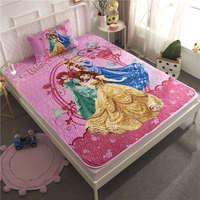 Disney 3D Princess Printed Bedding Set Twin Size Bedspread Coverlets for Kids Girls Bedroom Decoration pillow case Children Pink