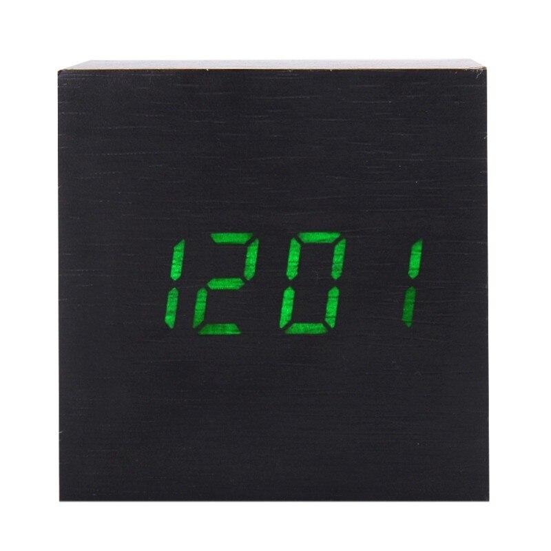 2018 Cube Wooden Alarm Clock LED Electronic Desktop Digital Table Clocks Digital Alarm Clock with Thermometer