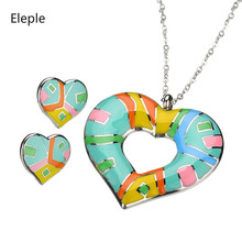 Eleple Unique Oil Painting Stainless Steel Love Necklace Earring Set for Women Ethnic Retro Party Fashion Jewelry Sets S-S071 цена и фото