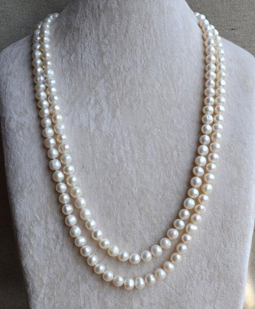Perfect Long Pearl Jewellery,8-9mm 52 inches Natual Freshwater Pearl Necklace,White Color Long Necklace,Bridal Jewelry все цены