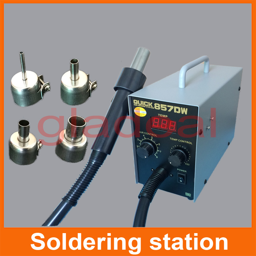 Quick 857DW Heating Hot Air Gun Soldering Rework Station For BGA IC Chip Repair 100/Litres/Minutes 100 to 450 Degree