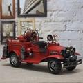 40 Cm Grande Retro Hecho A Mano Colección de Bomberos de Hojalata Escaparate de Artesanía Antiguos Modelos de Camión de Bomberos