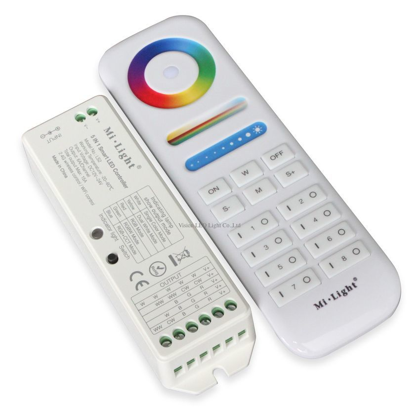 Mi Light 2.4G wireless 8 Zone FUT 089 remote <font><b>controller</b></font>; B8 Wall mounted touch panel, <font><b>LS2</b></font> LED <font><b>Controller</b></font> for RGB + CCT LED strip image