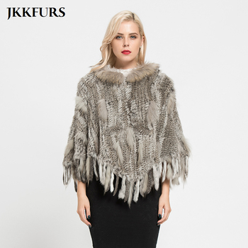 2019 New Winter Fashion Real Rabbit & Raccoon Fur Knitted Poncho Female Party Pocket Shawls Pullover S7183