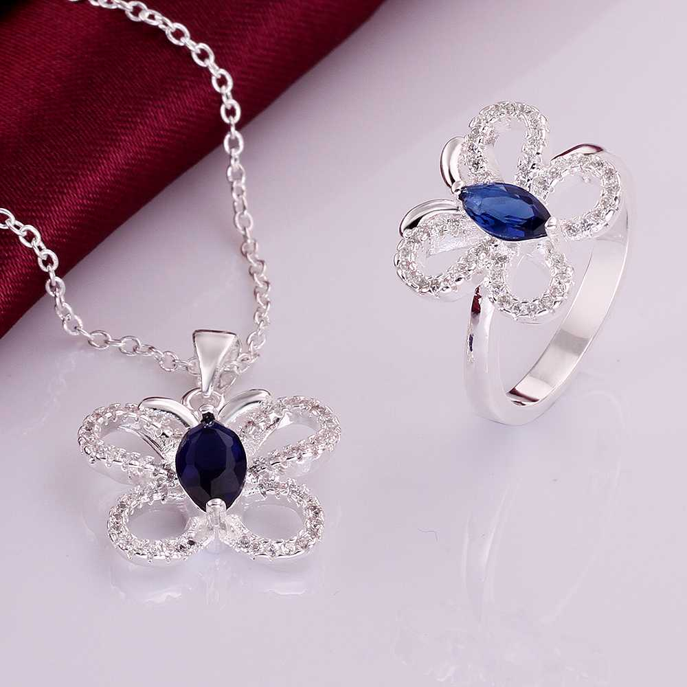 Wholesale silver plated Jewelry Sets,Fashion Jewelry blue stone buttfly N+R SMTS766