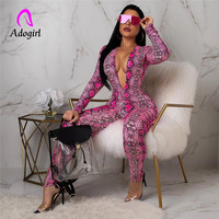 Adogirl deep v neck serpentine women jumpsuits sexy long sleeve snake skin playsuits high elastic lady club bodysuit