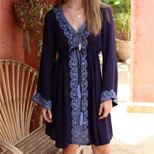 New Arrivals Beach Cover up Embroidery Vintage Swimwear Ladies Tunics Kaftan Beach Dress Beach Wear Women Robe de Plage #Q17