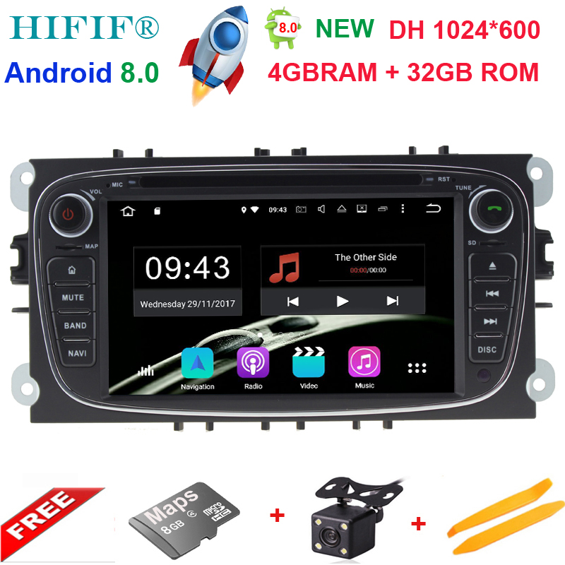 8 Core 2 Din 7''Android 8.0 Car DVD Player For Ford Mondeo/Focus GPS Navigation Bluetooth Car Stereo FM Rds Radio Wifi Headunit funrover ips 8 2 din android 8 0 car dvd player for kia sportage 2016 2017 kx5 gps navigation car stereo headunit wifi bt navi