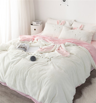 New White Gray Pink Rabbit Ears Embroidery Fleece Fabric Girl Child Bedding Sets Velvet Duvet Cover Bed sheet/Linen Pillowcases