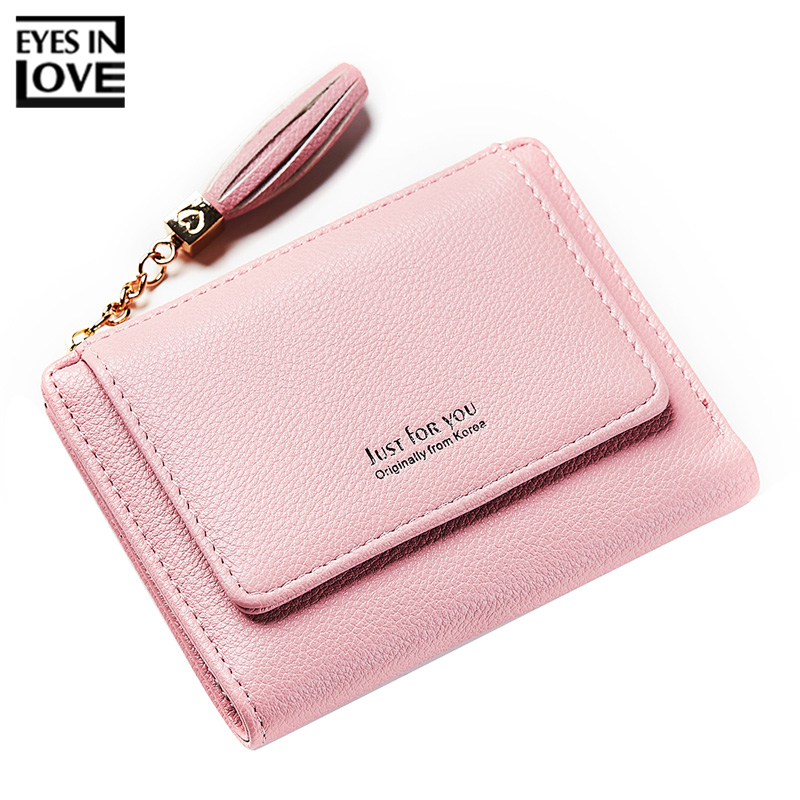 EYES IN LOVE Brand Tassel Women Wallets Small Synthetic Leather Zipper Coin Purse Ladies Card Wallet Female Purses Carteira HOT