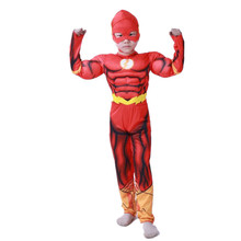 2019 Kids Superhero Flash Muscle Costume Fantasia Halloween School Party Costumes For Children Boys Girls Cosplay Clothing