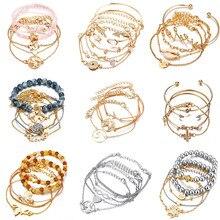Pulseras y brazaletes bohemios Set Mapa de Shell corazón aleación femenina geometría Vintage multicapa encanto pulsera para mujer joyería