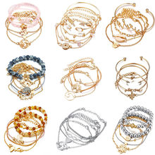 Bohemian Bracelets & Bangles Set Shell Map Heart Female Alloy Geometry Vintage Multilayer Charm Bracelet for Women Jewelry(China)