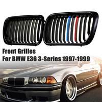 Pair Front Kidney Grill Grilles Matte Black + M color For BMW E36 3 Series 323is 323i M3 1997 1998 1999