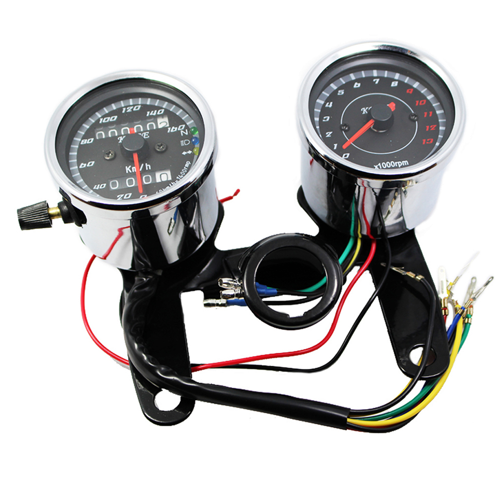 Chrome Motorcycle Speedometer Tachometer- ի հավաքածու 0 m 160km / h Օդոմետր Tacho Gauge 0-13000 RPM համար Harley Honda Suzuki Kwasaki Yamaha