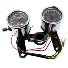 Chrome Motorcycle Speedometer Tachometer Set 0~160km/h Odometer Tacho Gauge 0-13000 RPM for Harley Honda Suzuki Kwasaki Yamaha