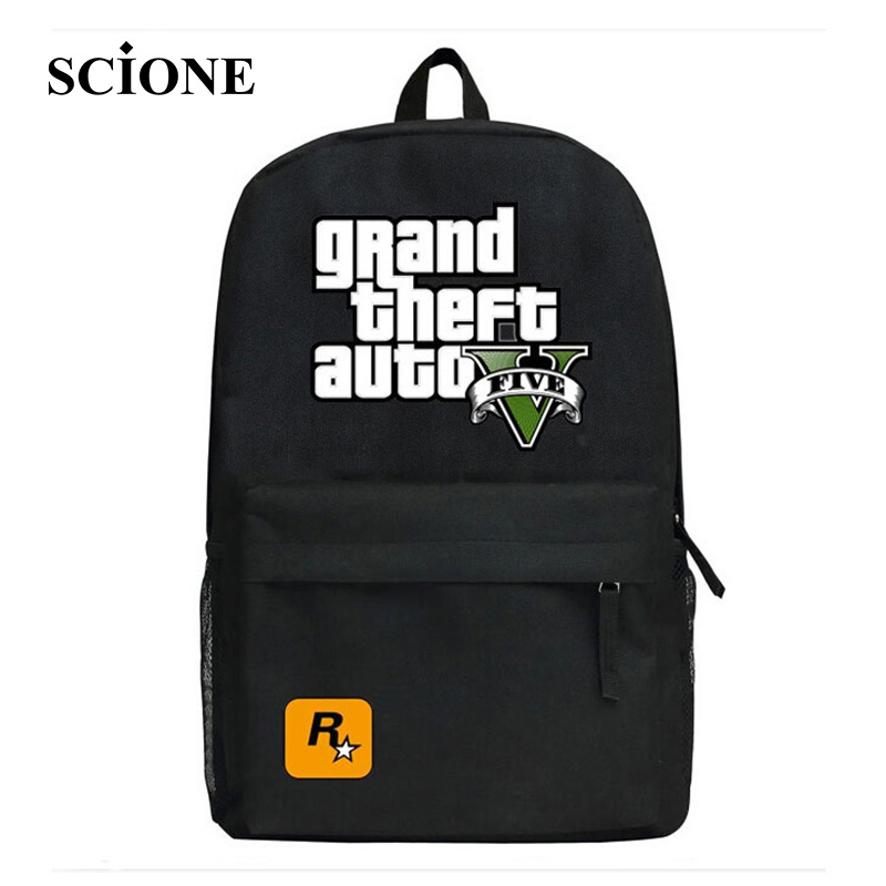 2017 GTA5 GTA PC Games Mochilas School font b Kids b font font b Backpack b