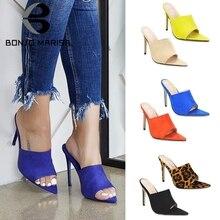 BONJOMARISA New INS Fashion Pointed Toe Mules Women 2019 Summer Large Size 35-43