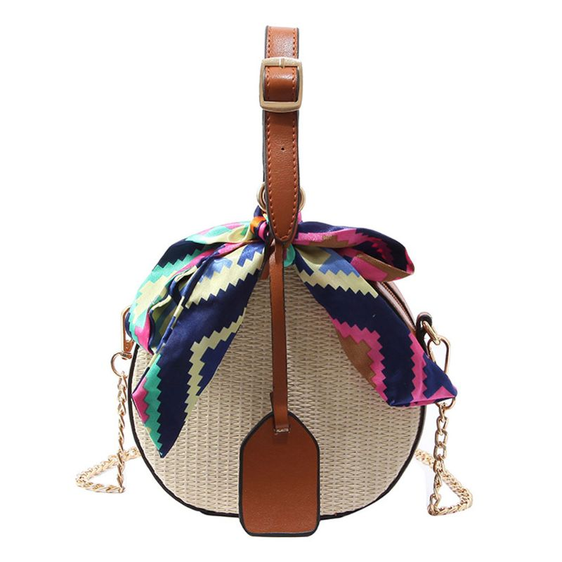 Women Straw Small Handbag Satchel Messenger Crossbody Shoulder Bag Tote Purse With Scarf Leather Strap