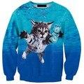Новый 2017 Мужчины 3D Мужские Кофты Cat Долларов Синий Мило верхней одежды хип-хоп аниме Перемычки Пуловер Толстовка Топы