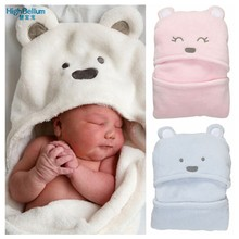Baby Blanket Sleeping Bag Flannel 3D Hooded Blanket Swaddling For Toddlers Infant Envelope For Newborns Bathrobe Towel Comhoney(China)