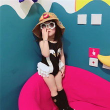 child lady boy garments Kid youngsters's swimwear new feminine baby bikinis swimming pool spa child Swan one-piece cap with clothes