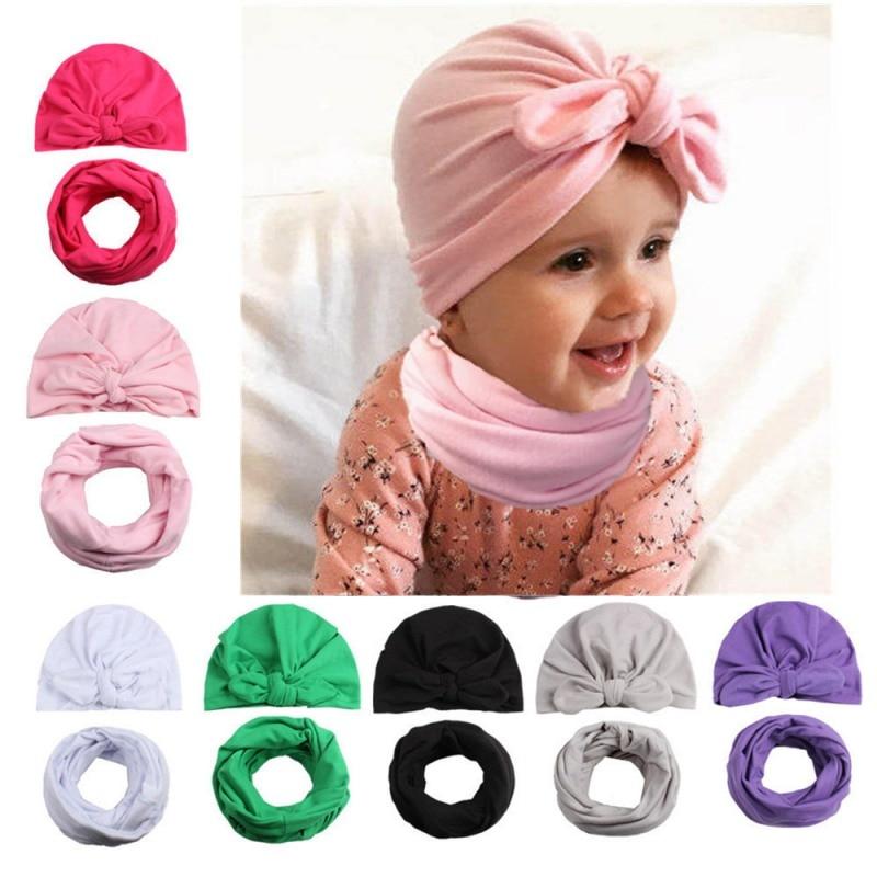 Baby Cap Scarf Set Children Caps 2018 New Autumn Winter Baby Hat Girls Boys Cap+Scarf 2pcs High Quality